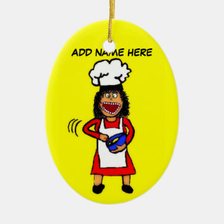 Female Cooking Cartoon Ceramic Ornament