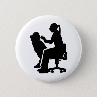 Female dentist 6 cm round badge