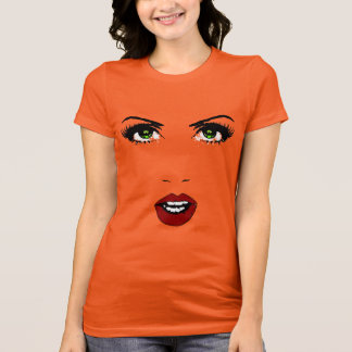 Female Face on Changeable Background Color T-Shirt