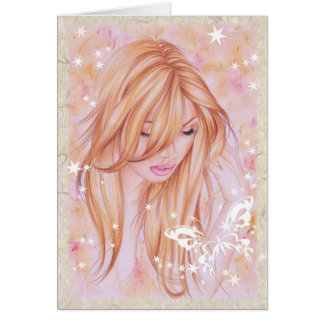 Female face with butterfly motif card