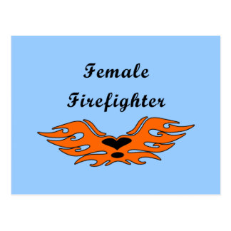 Female Firefighter Tattoos Postcard