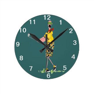 Female Flamingo Golfer wall clock