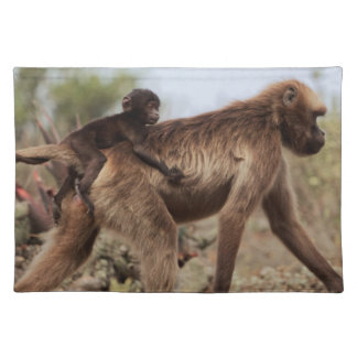 Female gelada baboon with a baby placemat