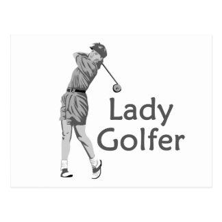 Female Golfer Postcard