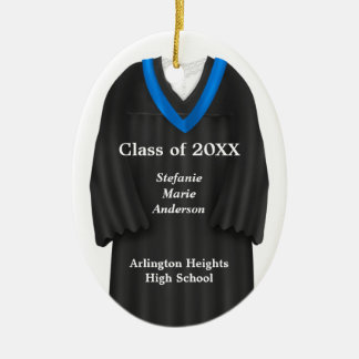 Female Grad Gown Black and Blue Ornament