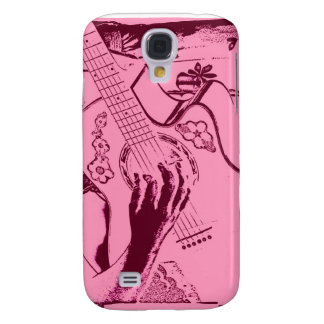 Female Guitar hand pink invert gritty Galaxy S4 Cases