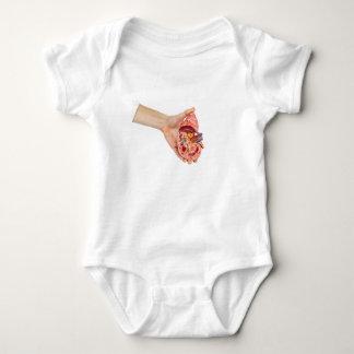 Female hand holds model of human kidney baby bodysuit