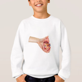 Female hand holds model of human kidney sweatshirt