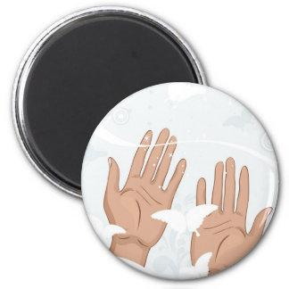 female hands 6 cm round magnet