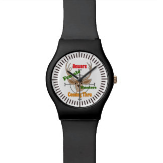 Female hunters, hunting deer design wrist watch