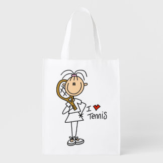 Female I Love Tennis Reusable Grocery Bag