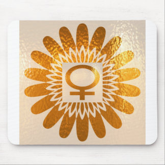 Female Icon Symbol : Golden Sunflower Energy Mouse Pads