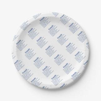 Female in Blue Paper Plate