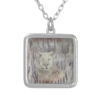 Female Lion Drawing Silver Plated Necklace