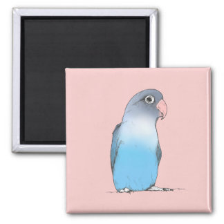 Female Lovebird Magnet| Cute Original Illustration Square Magnet