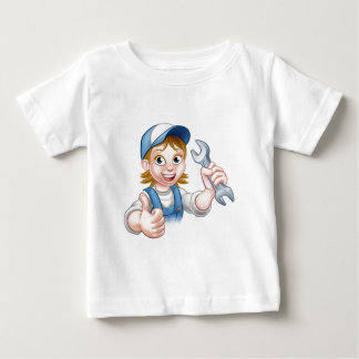 Female Mechanic or Plumber with Spanner Baby T-Shirt