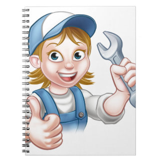 Female Mechanic or Plumber with Spanner Spiral Notebook