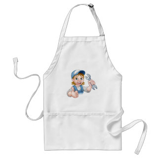 Female Mechanic or Plumber with Spanner Standard Apron