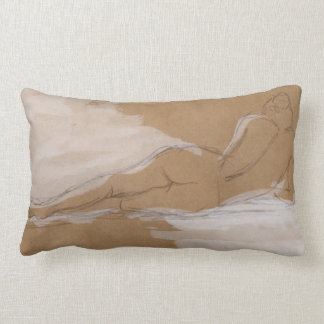 Female Nude Composition Lying in Bed Lumbar Cushion