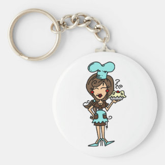 Female Pastry Chef - Brunette T-shirts and Gifts Basic Round Button Key Ring