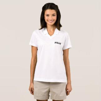 Female Pilot Aviation Themed Graphic Polo Shirt