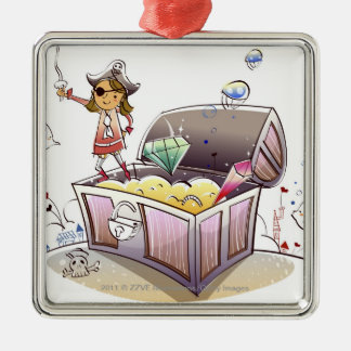 Female pirate standing on a treasure chest metal ornament
