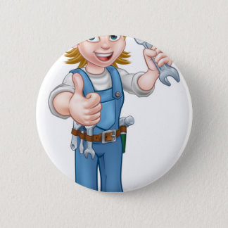 Female Plumber Cartoon Character with Spanner 6 Cm Round Badge