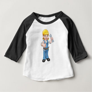 Female Plumber Cartoon Character with Spanner Baby T-Shirt