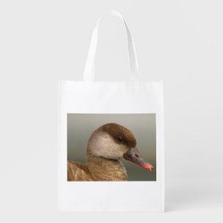 Female pochard duck, netta rufina reusable grocery bag
