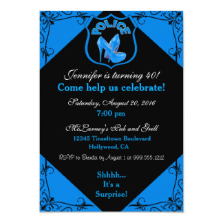 Female Police Officer Birthday Blue Invitation