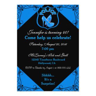 Female Police Officer Birthday Blue Invitation