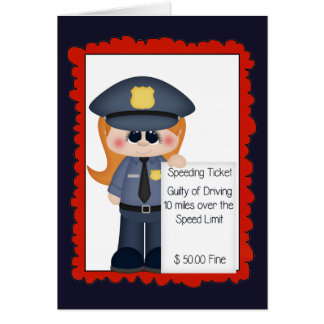Female police traffic cop greeting add words card