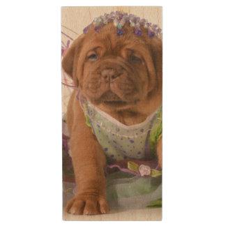 Female Puppy - Dogue De Bordeaux Puppy Wood USB 2.0 Flash Drive