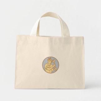 Female Riverter Rolling Sleeve Spanner Mono Line Mini Tote Bag