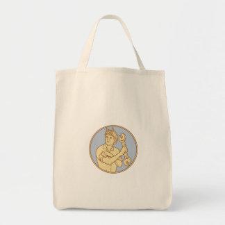 Female Riverter Rolling Sleeve Spanner Mono Line Tote Bag