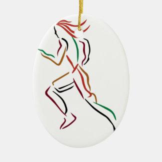 Female Runner Ceramic Ornament