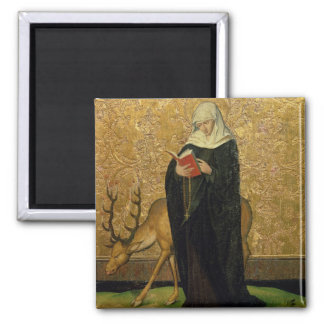 Female Saint with a Stag (oil on panel) Square Magnet