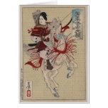 Female Samurai on Horse in Armour circa 1885 Japan Greeting Card