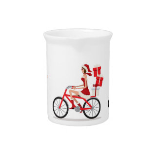 ***FEMALE SANTA*** ON BICYCLE SHOPPING PITCHER