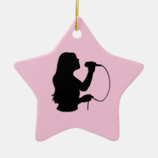 Female Singer Pink Ceramic Ornament