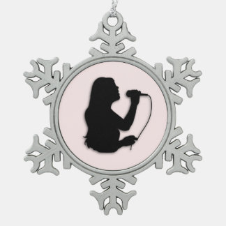Female Singer Pink Snowflake Pewter Christmas Ornament