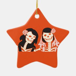 Female Skeleton Couple Ceramic Ornament