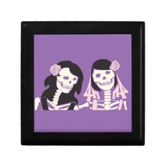 Female Skeleton Couple Small Square Gift Box