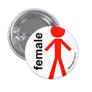 Female Stick Figure 3 Cm Round Badge