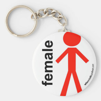 Female Stick Figure Basic Round Button Key Ring