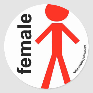 Female Stick Figure Round Sticker