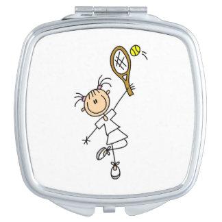 Female Stick Figure Tennis Player Compact Mirror