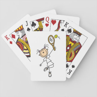 Female Stick Figure Tennis Player Poker Deck