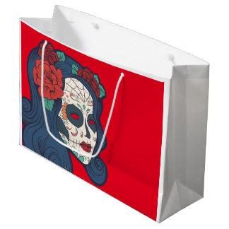 Female Sugar Skull Big Red Roses Large Gift Bag