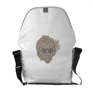 Female Sugar Skull Calavera Retro Commuter Bags
